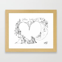 Wrapped in the arms of His love sketch Life of Christ Nativity to Resurrection Framed Art Print