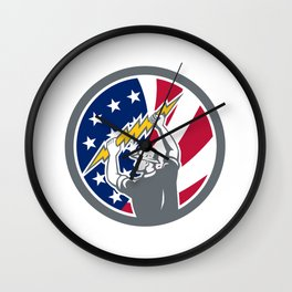 American Electrician USA Flag Icon Wall Clock