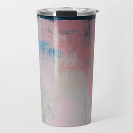 Morning Light: a minimal abstract mixed-media piece in pink gold and blue by Alyssa Hamilton Art Travel Mug