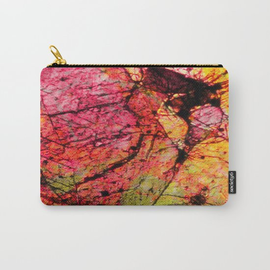 Conflict - textured abstract in pink, black and yellow Carry-All Pouch