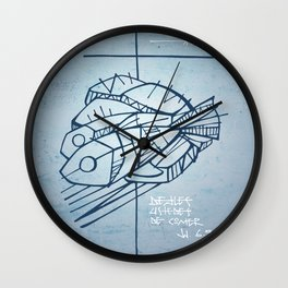 Five bread and two fish religious christian illustration Wall Clock