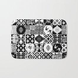 Linocut tiles patchwork quilt pattern black and white decor Bath Mat