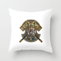 viking Throw Pillows featuring Viking by Spooky Dooky