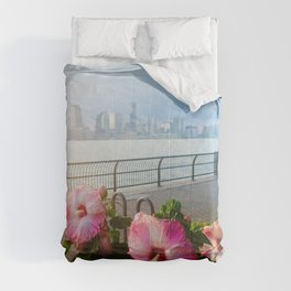 Battery Park New York City Skyline with Pink Hibiscus Flowers Comforters