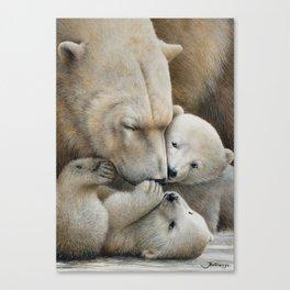 """Nanuk family"" Polar bear by Claude Thivierge Canvas Print"