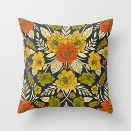 Modern Floral Pattern in Orange, Yellow, Green & Navy Throw Pillow
