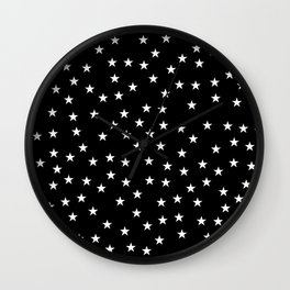 Black background with white stars seamless pattern Wall Clock