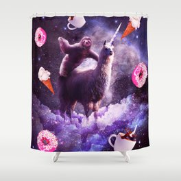 Outer Space Sloth Riding Llama Unicorn - Donut Shower Curtain