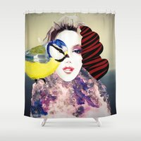 no face Shower Curtains featuring Face by Cs025