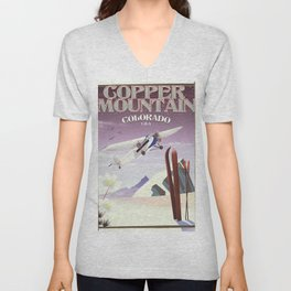 Copper Mountain colorado vintage poster Unisex V-Neck