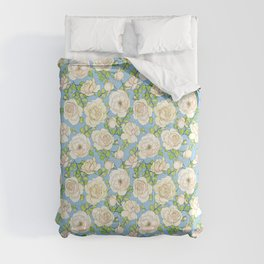 English Roses and Maidenhair Ferns Lt. Blue Pattern Comforters