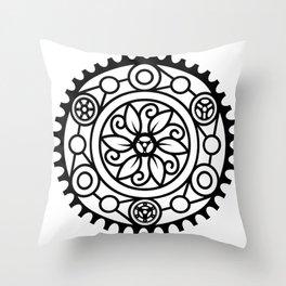 Bike Mandala Flower Throw Pillow