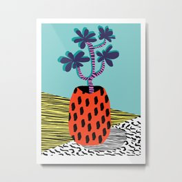 Spazzing - throwback house plant retro 1980s style memphis design neon art pop art print dorm room h Metal Print