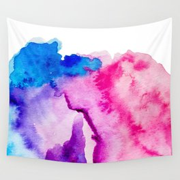 Modern pink blue abstract watercolor wash paint Wall Tapestry