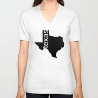 texas V-neck T-shirts featuring Texas by Isabel Moreno-Garcia