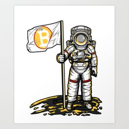 Bitcoin Astronaut To The Moon BTC Blockchain Gift Art Print