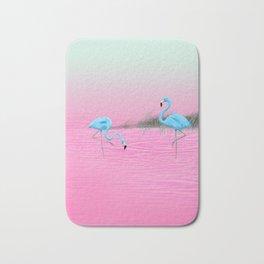 Pink Lake and the Blue Flamingos Bath Mat