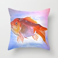 goldfish Throw Pillows featuring Goldfish by Jaime Viens