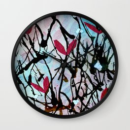 Blown Ink Painting Collage Wall Clock