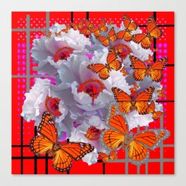 RED WHITE-GREY TREE PEONIES MONARCH BUTTERFLIES Canvas Print