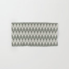 Moody Green Creamy White Chevron Ripple Pattern 2021 Color of the Year Contemplative and Whitewisp Hand & Bath Towel