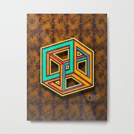DIFORCE #3 Impossible Triangle Psychedelic Optical Illusion Metal Print