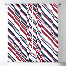 Red and Blue Stripes Blackout Curtain