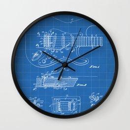 Guitar Tremelo Patent - Guitarist Art - Blueprint Wall Clock