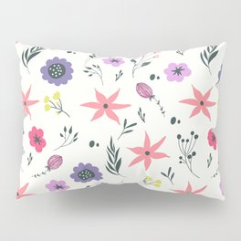Abstract coral purple violet vector floral pattern Pillow Sham