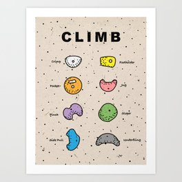 Rock Climbing Poster colorful Art Print