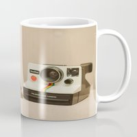 yorkie Mugs featuring A Yorkie Puppy and a Polaroid Land Camera by Dustin Hall
