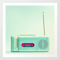 radio Art Prints featuring Radio Days  by Caroline Mint