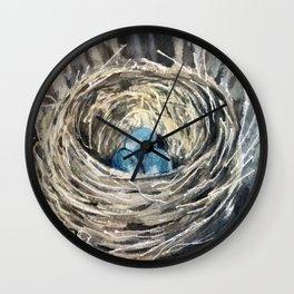 Nestled #nest #Society6 #watercolor  Wall Clock