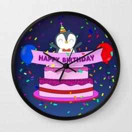 Penguin Surprise Birthday Wall Clock
