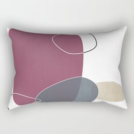 Abstract Glimpses in Mulberry and Peninsula Blue Rectangular Pillow