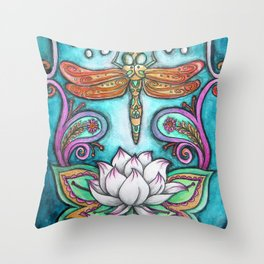 Enlightened Dragonfly Throw Pillow