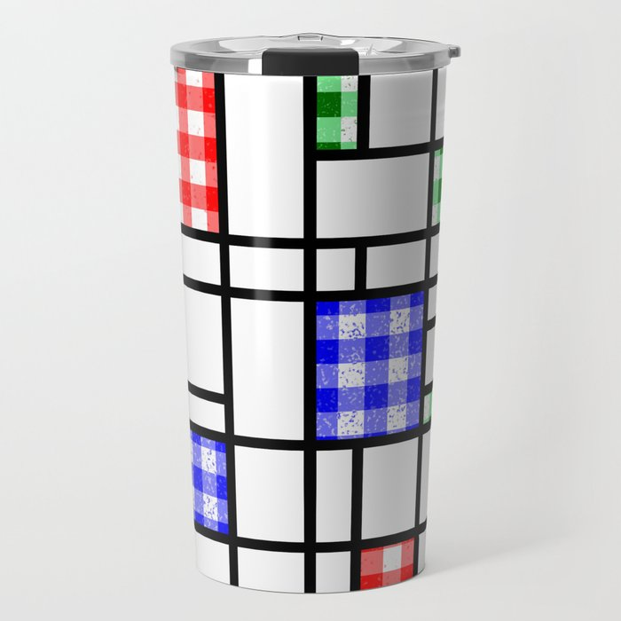 Gingham Blue Red and Green Modern Art Grid Pattern Travel Mug