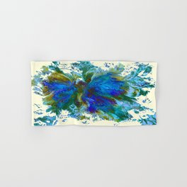 Butterflies are free in teal, blue, green and cream Hand & Bath Towel