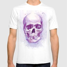 Pink Skull Watercolor Purple Abstract White Mens Fitted Tee MEDIUM