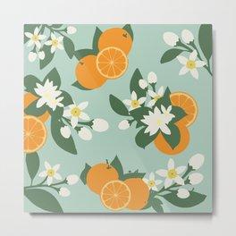 Orange Blossom Floral Pattern- Sea Foam Metal Print