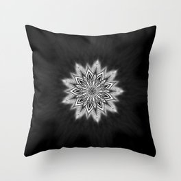 Black Ice Mandala Swirl Throw Pillow