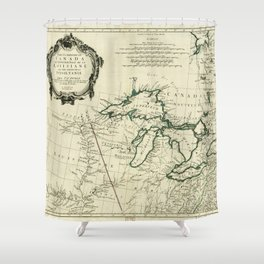 Map of the Great Lakes Region, North America (1784) Shower Curtain