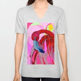 Contemporary Abstracted Tropical Flamingo Art Unisex V-Neck