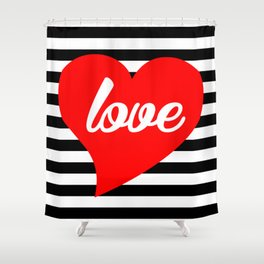 Red Heart, Love, Typography, Black Stripes, Shower Curtain