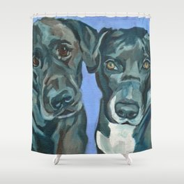Emily and Annabel Dog Portrait Shower Curtain
