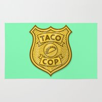 taco Area & Throw Rugs featuring Taco Cop by Josh LaFayette