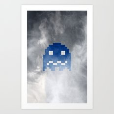 Pac-Man Blue Ghost Art Print