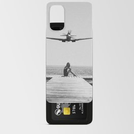 Steady As She Goes; aircraft coming in for an island landing black and white photography- photographs Android Card Case
