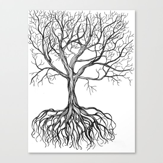 Bare tree with root Canvas Print