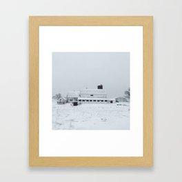 White Barn in Winter Framed Art Print